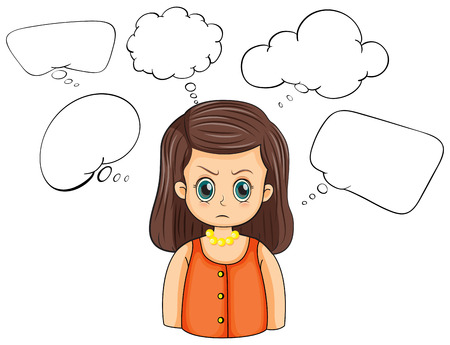 Ilustración de una mujer enojada con llamadas vacías sobre un fondo blanco Foto de archivo - 22404662