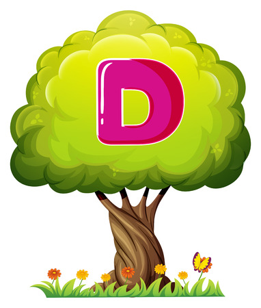 Illustration of a tree with a letter D on a white background Vector