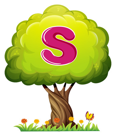 forest clipart: Illustration of a tree with a letter S on a white background