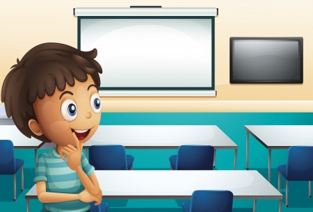 empty classroom: Illustration of a boy inside a meeting room