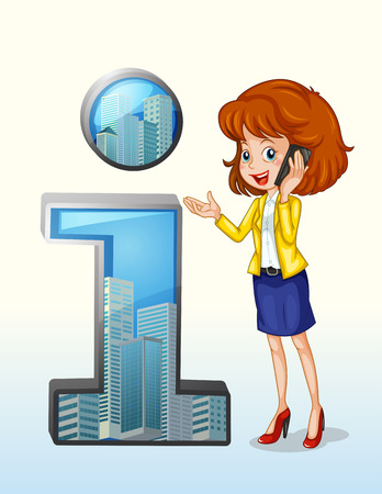 woman cellphone: Illustration of a woman using a cellphone standing beside the number one symbol on a white background