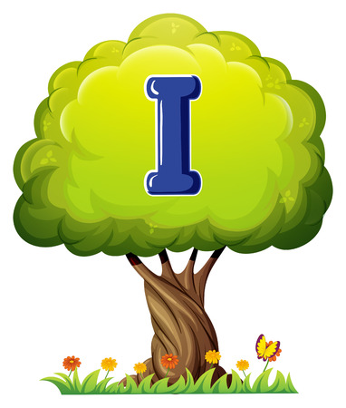 vowel: Illustration of a tree with a letter I on a white background Illustration