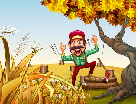 Illustration of a very happy lumberjack beside the giant tree Vector