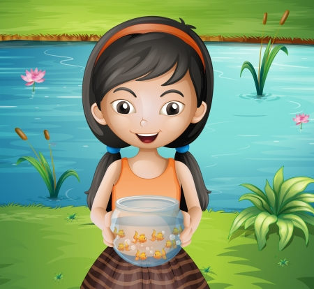 Illustration of a smiling young girl holding an aquarium Vector