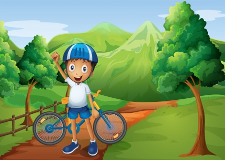 hilltop: Illustration of a boy standing in the pathway with his bike
