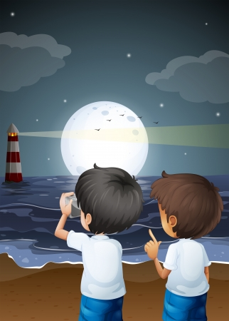 Illustration of the two male photographers at the beach Vector