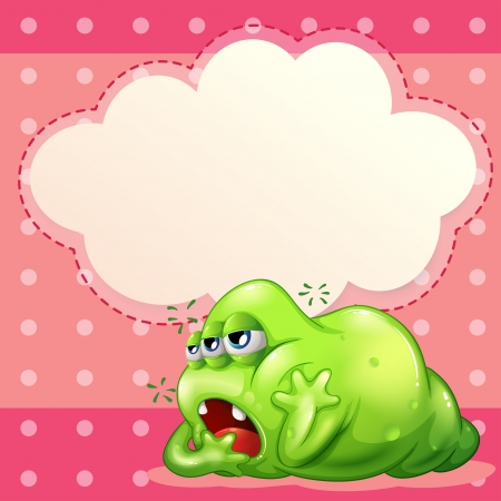 tiresome: Illustration of a tired monster below the empty cloud template