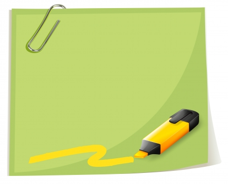 school frame: Illustration of a paper with a paper clip and a coloring pen on a white background