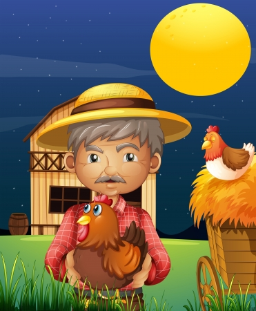 barnhouse: Illustration of an old man with his farm animals standing in front of the barnhouse Illustration