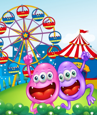 Illustration of the two happy monsters near the carnival Vector