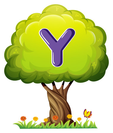 Illustration of a tree with a letter Y on a white background Vector
