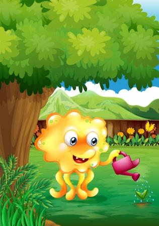 lemon tree: Illustration of a monster watering the plants
