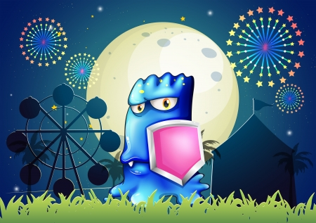 Illustration of a blue monster holding a pink shield Vector