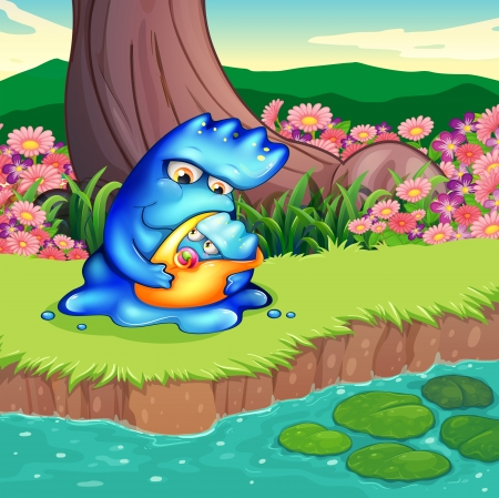 lilypad: Illustration of a mother monster and her child at the riverbank