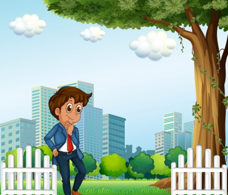establishments: Illustration of a young office worker near the wooden fence Illustration