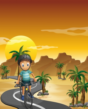 desert road: Illustration of a boy travelling with his bike