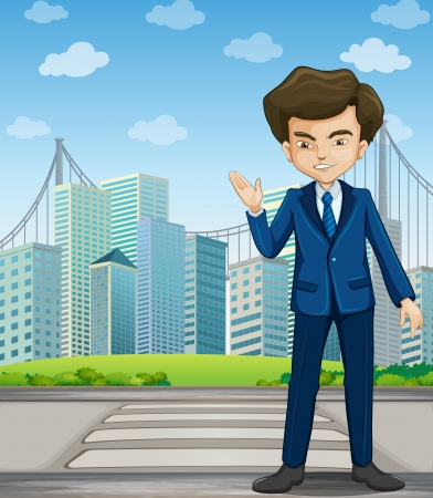 Illustration of a man at the pedestrian lane across the tall buildings Vector