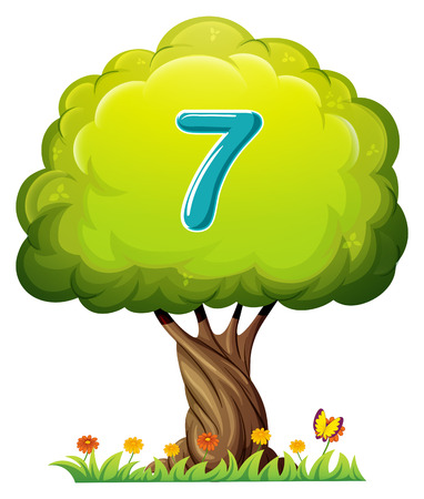 Illustration of a tree with a number seven figure on a white background Vector