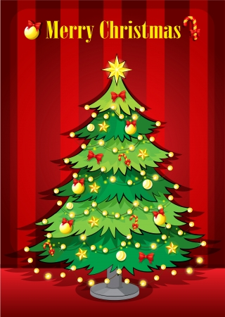 Illustration of a green giant christmas tree Vector