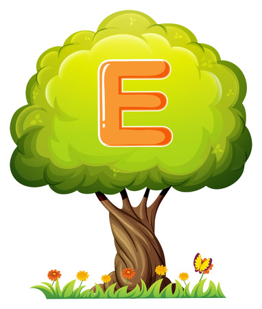 animal alphabet: Illustration of a tree with a letter E on a white background