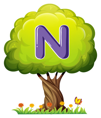 Illustration of a tree with a letter N on a white background Vector