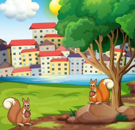 riverside tree: Illustration of the two squirrels at the riverbank across the village