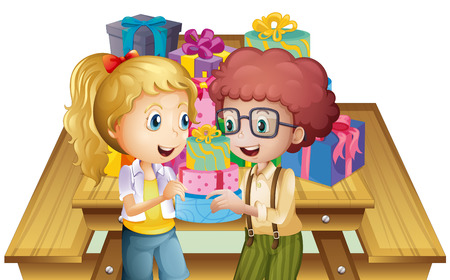 sides: Illustration of the two adorable kids near the table with many gifts on a white background Illustration