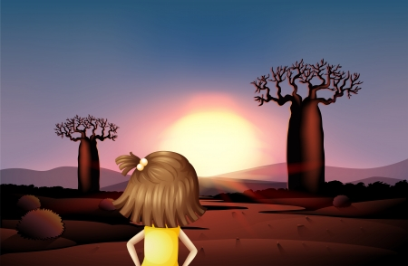 Illustration of a girl at the desert watching the sunrise Vector