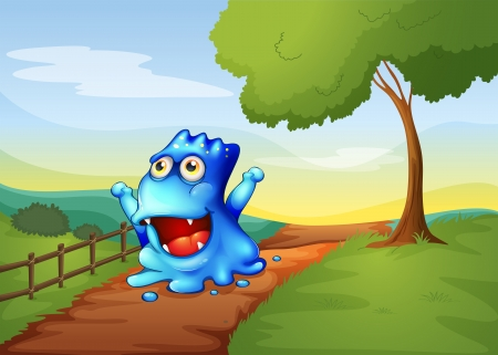 Illustration of a pathway in the hilltop with a monster walking Vector