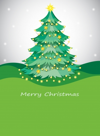 Illustration of a green christmas tree with sparkling series lights Vector