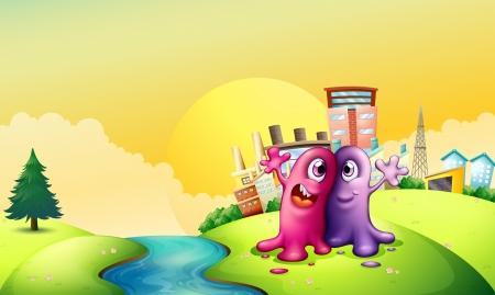 강둑: Illustration of the two monsters at the riverbank near the tall factories 일러스트
