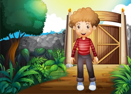 gated: Illustration of a smiling young boy inside the gated yard