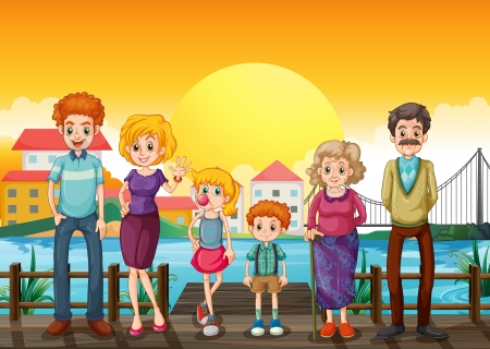 young children: Illustration of a family at the wooden bridge across the village
