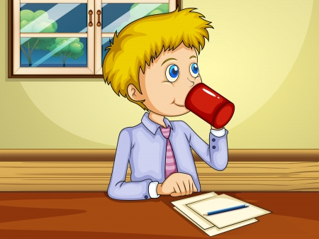 Illustration of a man drinking while making a report Vector