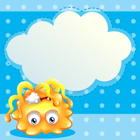 dying: Illustration of a dying lemon monster in front of an empty cloud template Illustration