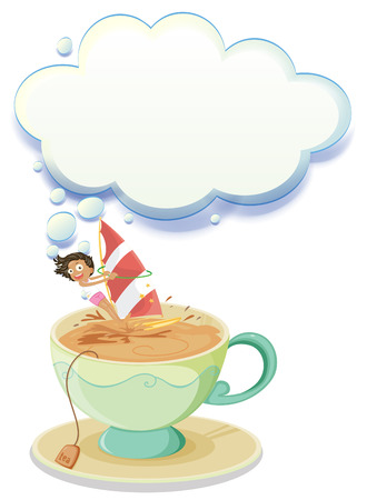 melaware: Illustration of a girl sailing over a big cup of tea with an empty callout on a white background