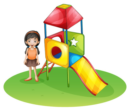 Illustration of a cute girl at the playground on a white background Vector