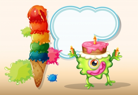 Illustration of a monster with a cake above the head Vector