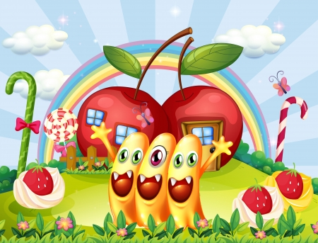 Illustration of the three monsters at the hilltop near the apple houses Vector