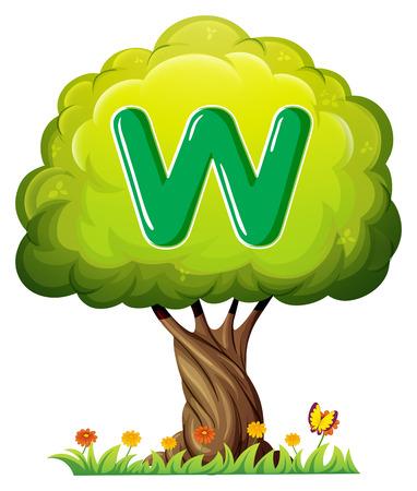 alfabeto con animales: Ilustración de un árbol con una letra W en un fondo blanco