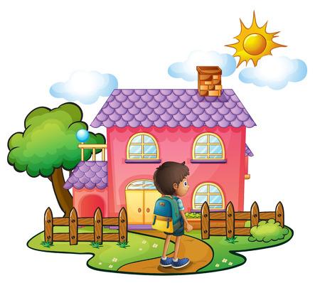 Illustratie van een jongen in de voorkant van het grote roze huis op een witte achtergrond