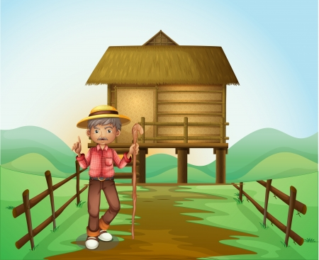 Illustration of an old man with a cane standing in front of the nipa hut Vector