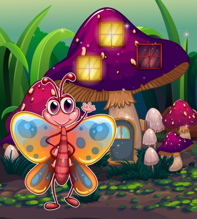 giant mushroom: Illustration of a butterfly in front of the mushroom house