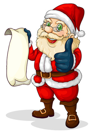 Illustratie van de kerstman met een lege lijst voor Kerstmis op een witte achtergrond