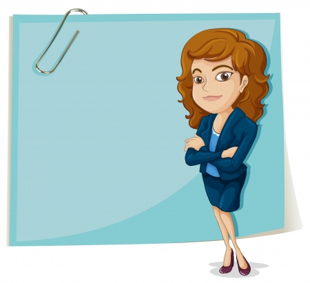 Illustration of a big empty paper with a clip on a white background Çizim