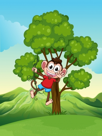 Illustration of a playful monkey playing at the tree Stock Vector - 22404768