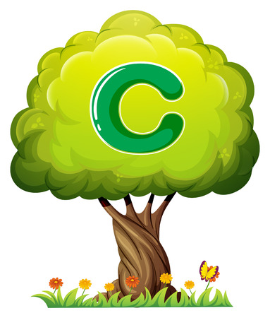 Illustration of a tree with a letter C on a white background Vector