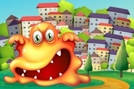 Illustration of an angry monster at the village Vector