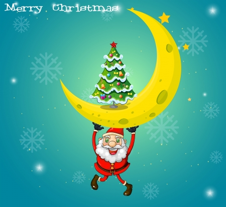 Illustration of Santa carrying a moon with a christmas tree Vector