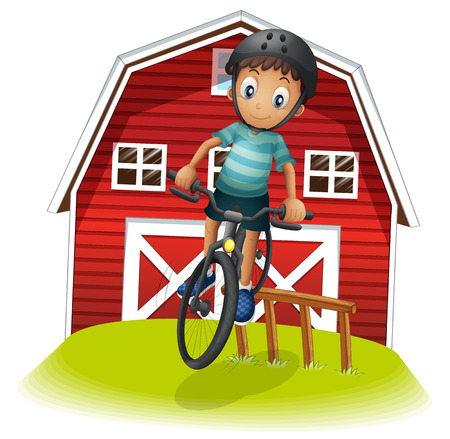 Illustration of a boy playing with his bike in front of the barnhouse on a white background Stock Vector - 22404777